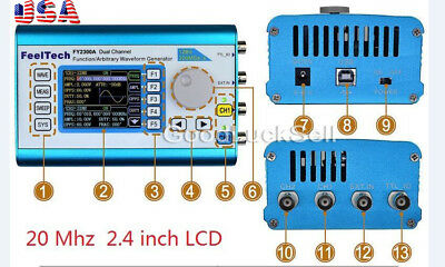 FY2300 20MHz Arbitrary Waveform Dual Channel DDS Function Signal Generator +LCD
