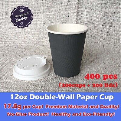 400pcs/200sets 12oz  Disposable Coffee Cups W/Lids Double Wall Grey Paper Cups