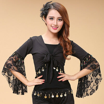 Belly Dance Winged Arm Lace Flower Tribal Gypsy Costume Gold Coins Tassels Sexy