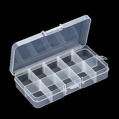 Empty Storage Case Box 10 Cells for Nail Art Tips Gems Translucent