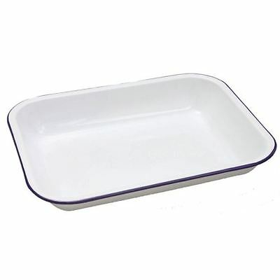 Falcon Enamel Oblong Bakepan Open Roasting Dish Traditional White 34cm