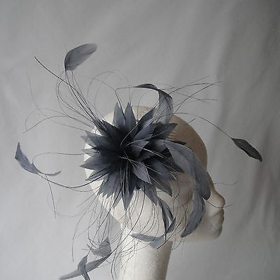 Steel Grey Feather Fascinator for Races , Weddings , And Proms