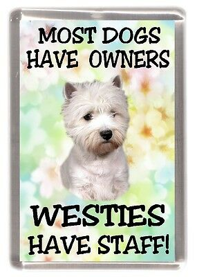 """Westie Terrier Dog Fridge Magnet """"Most Dogs Have Owners ..... Have Staff"""""""