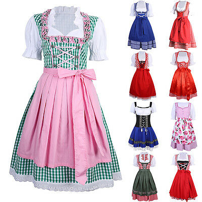 Cheers Traditional German Girls Oktoberfest Dirndl Fancy Dress Servants Costume