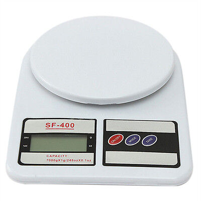 7 Kg/1g LCD Digital Kitchen Scale Weigh Accurate Dessert Fruit Weight, White BT