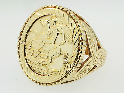 9Carat Yellow Gold St. George Signet Ring (Size P) 22mm Head Diameter