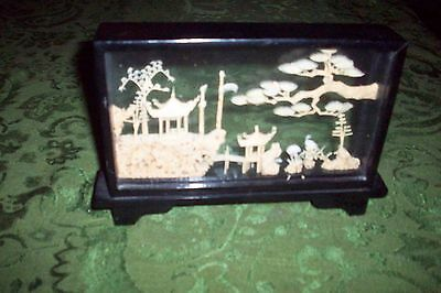 Vintage Rare Chinese Hand Carved Cork Miniature Scenes In Framed Glass Case Vg