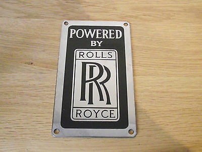 Rare Vintage Powered By Rolls Royce Engine Plate Badge - Unused