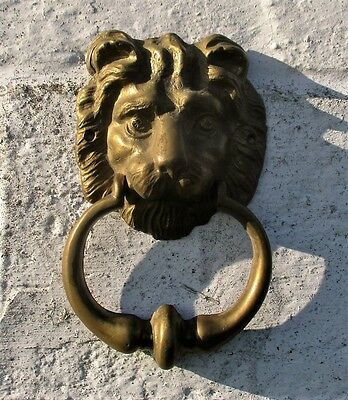Vintage Heavy Brass Door Knocker Lions Head Architectural Reclaimed Lovely
