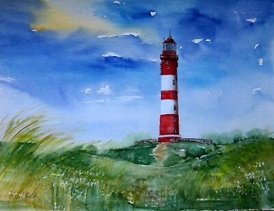 Original Aquarell handgemalt (Pastell -art) Leuchtturm Amrum Nordsee lighthouse