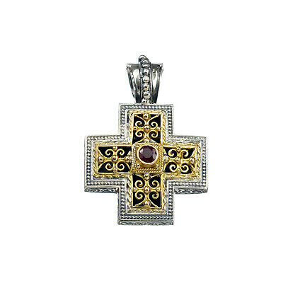 Gerochristo: Handmade Byzantine Small Cross Silver and 18k Solid Gold