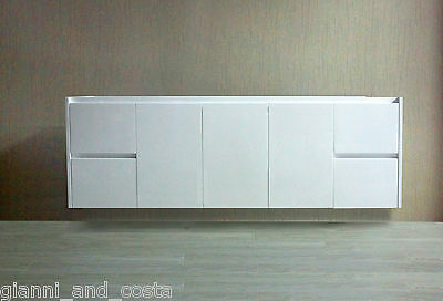 BATHROOM VANITY UNIT - 1800mm POLYURETHANE WALL HUNG - CABINET ONLY - MODEL HADI