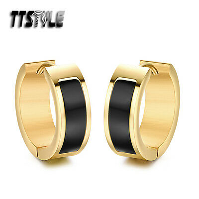 TTstyle 7mm Width Gold Stainless Steel Black Hoop Earrings 16/20mm Outer NEW