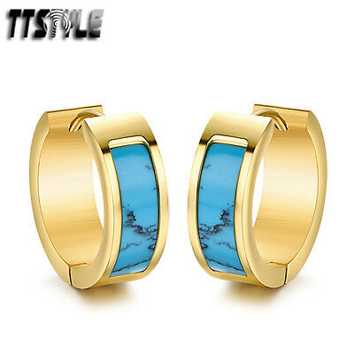 TTstyle 7mm Blue turquoise Gold Stainless Steel Hoop Earrings 13/16mm NEW