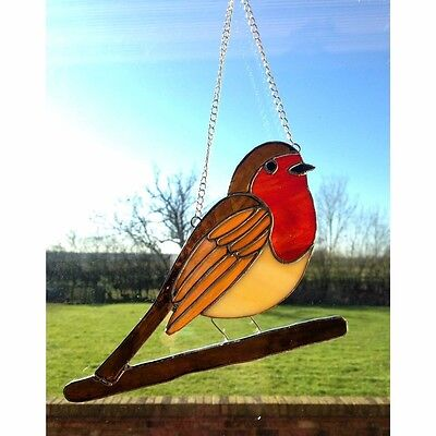 Handmade Stained Glass Robin Red Breast Suncatcher, Gift Decoration