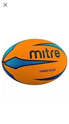 Mitre Sabre Rugby Ball Orange Fluro Fan Supporter Gift Size 5