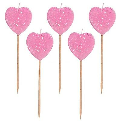 10 x Pink Glitter Heart Pick Cake Candles Birthday Valentines Cupcakes Romance