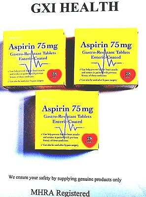 ASPIRIN 75MG 28 tablets x 3 packets. 84 tablets gastro-resistant .Enteric coated