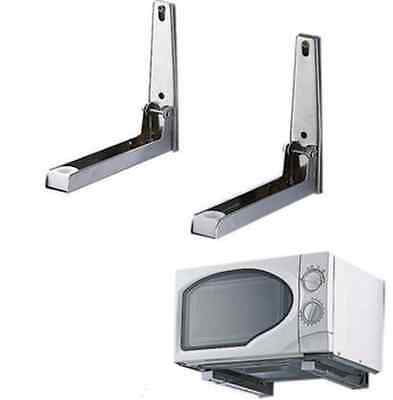 2pcs Stainless steel Foldable Microwave Oven Shelf Wall Mount Bracket Stand