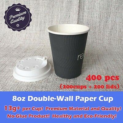 400pcs/200sets 8oz Disposable Coffee Grey Paper Cups Double Wall W/Lid Takeaway