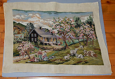 Vintage Pastoral Needlepoint Finished Completed Apple Blossom Sheep Romance
