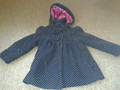 Navy & White Spotted Girls Coat age 2-3