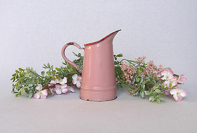 Petite VINTAGE FRENCH ENAMELWARE WATER PITCHER, in pretty pink coloring