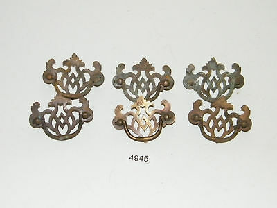 6 Antique Brass Drawer Pulls