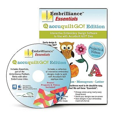 Embrilliance Essentials AccuQuilt GO! Edition Embroidery Software