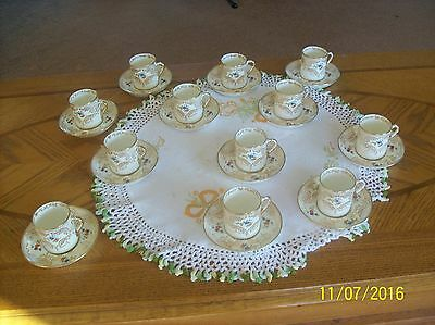 Plant Tuscan China 12 Delicate Demitasse Cups & Saucers Enamel Floral Pattern