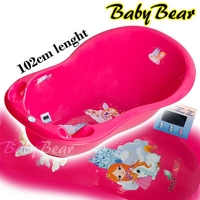 LITTLE PRINCESS Large Baby Bath Tub with thermometer - 102 cm - PINK