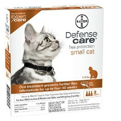 Bayer Defense Care Flea Protection For Small Cat - 3 Vials - Ships Free!