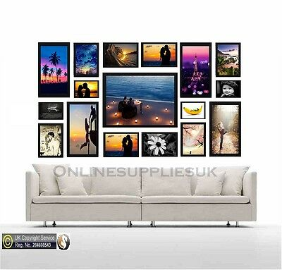 17 Piece Multi Picture Frame Photo Frame Collage Wall Hanging Frame Table Set