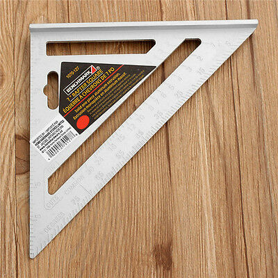 7inch Silver Aluminum Alloy Speed Square Roofing Triangle Angle Protractor Try S