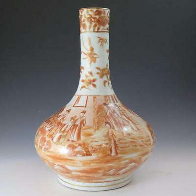 Large Chinese Export Porcelain Vase Decorated With Sepia Sacred Bird & Butterfly