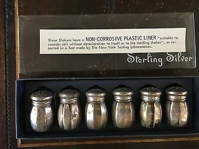 Vintage Signed Lord Silver Co.  Sterling Silver 6 Piece Never Used Salt Shakers