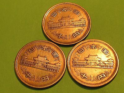 Japan  (lot of 3) copper yen.... .combine shipping 1 to 10 coins for $2.60