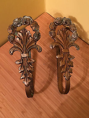 "Vintage Antique LARGE 9"" PAIR VICTORIAN Metal Rose CURTAIN TIE BACKS Holdbacks"