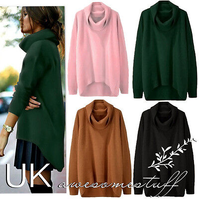 UK Womens Long Sleeve Pullover Sweater Ladies High Neck Jumper Top Size 6 - 18