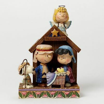 "THE PEANUTS Scultura ""PRESEPE - The Natale Gioca"" Jim Shore 4042370 NUOVO"
