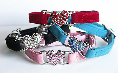 Cat Collars New Cute Diamante Safety Elastic Bell Designer Heart Stocking Filler