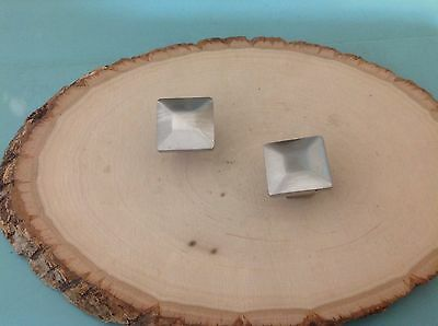 489 Vintage Square Knobs , Stainless Steel Set Of 2