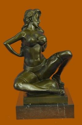 Bronze Sculpture Signed Erotic Woman With Bra And Garte Statue Figurine EX