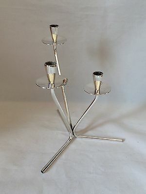 Silver Danish Plated 3 Branch Candle Holder E DRAGSTED