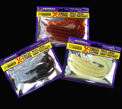 KOSADAKA 4x soft plastic lures fishing Grubs worm Baits variety colors
