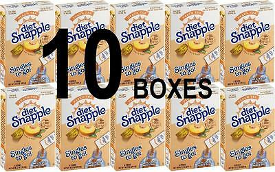 10 Boxes of Diet Snapple PEACH Tea Singles to Go 60 Count to go Packets