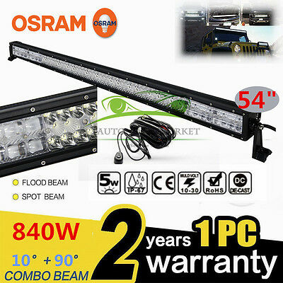 "Xmas!840W 54""INCH LED Combo Work Light Bar Offroad Driving Lamp 4WD FLOOD SPOT"