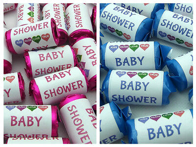 GORGEOUS CUTE BABY SHOWER PARTY MINI LOVE HEART SWEETS FAVOUR GIFTS PINK or BLUE