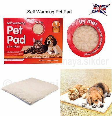 SELF Heating THERMAL Dog Cat Puppy Pad BED Rug washable Warm Mat 64x49cm