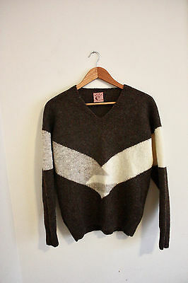 BONZ unisex New Zealand Handknit Wool sweater Size 38 quirky cool top Brown 2